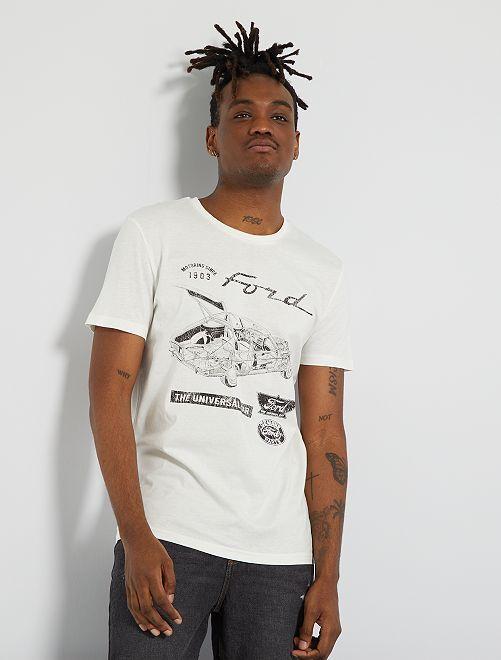 T-shirt van jerseytricot 'Ford'                             sneeuw wit