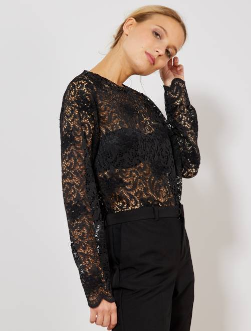 T-shirt van kant met bloemenborduursel                     zwart Dameskleding