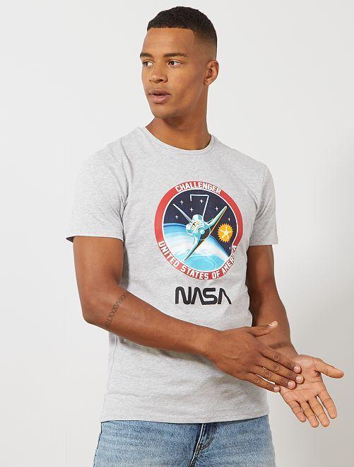 T-shirt van 'NASA' Challenger                             GRIJS Herenkleding