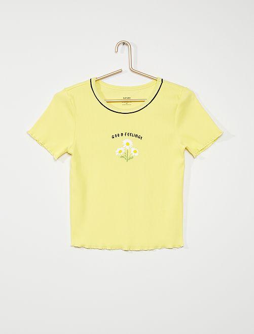 T-shirt van ribtricot                                         geel