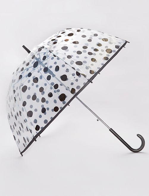 Transparante paraplu met leuke print                     BIEGE