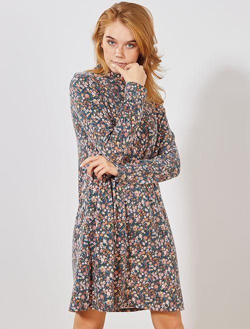 Wijd uitlopende tricot jurk                     BLAUW