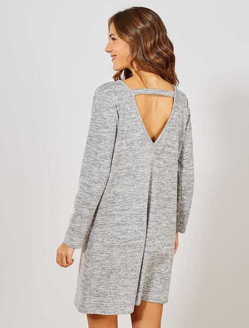 Trui-jurk met opening achteraan                                                     grijs