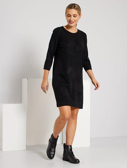 Trui-jurk van tricot met honingraatmotief                             zwart