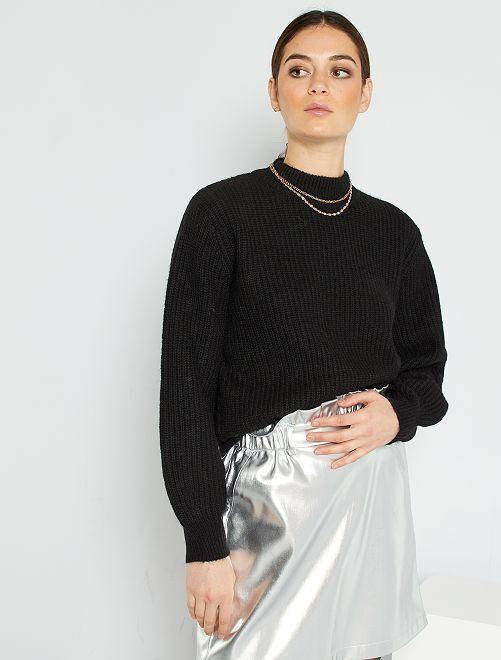 Trui van dik tricot                                                     zwart