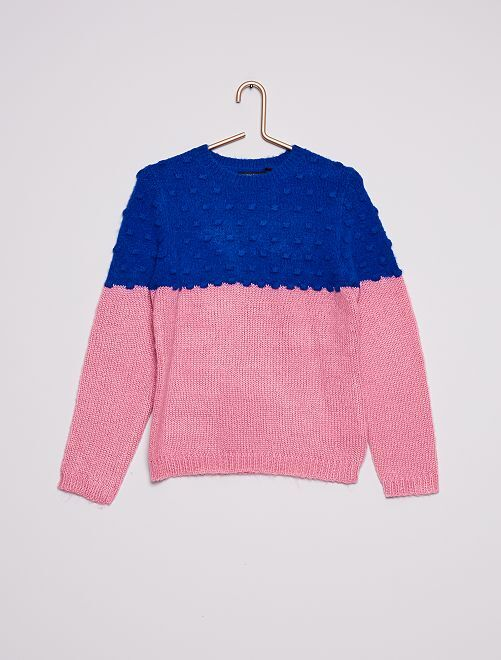 Trui van tweekleurig ribtricot                                         roze / blauw
