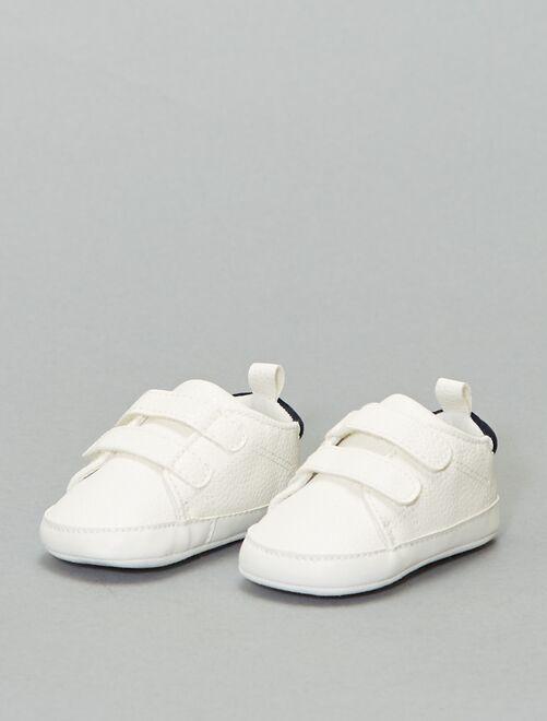 Tweekleurige sneakers met klittenband                             sneeuw wit
