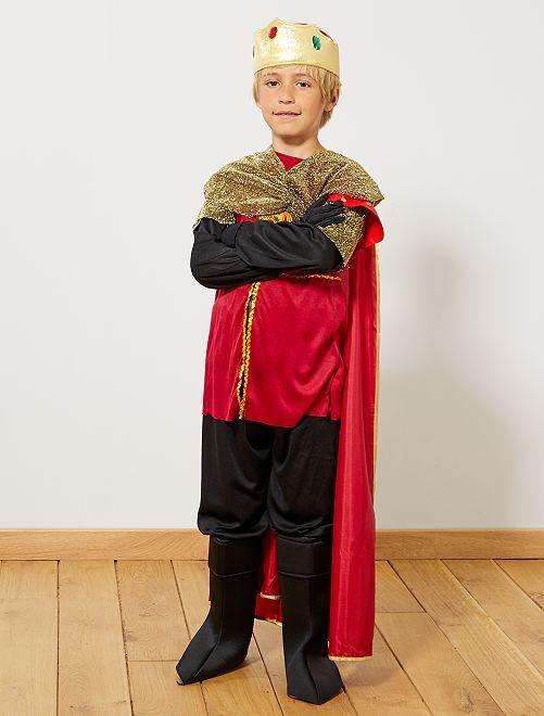 Verkleedkostuum van een ridder/koning                             zwart / rood