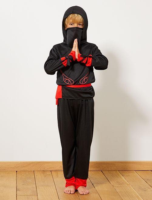 Verkleedkostuum van Ninja-krijger                             zwart / rood Kinderen