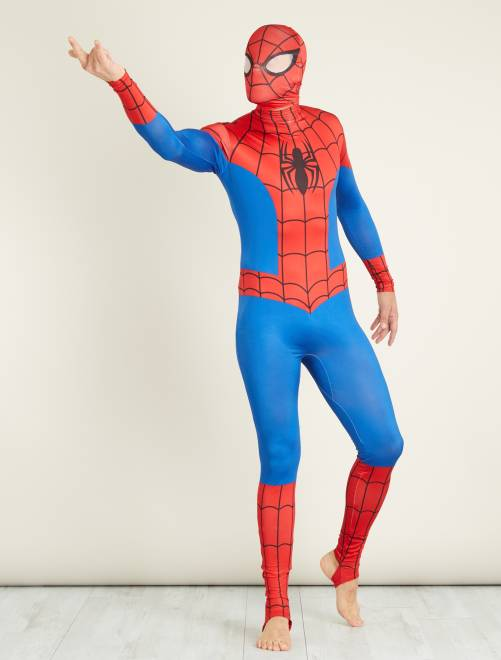 Verkleedkostuum van 'Spider-Man' tweede huid met bivakmuts                             blauw / rood