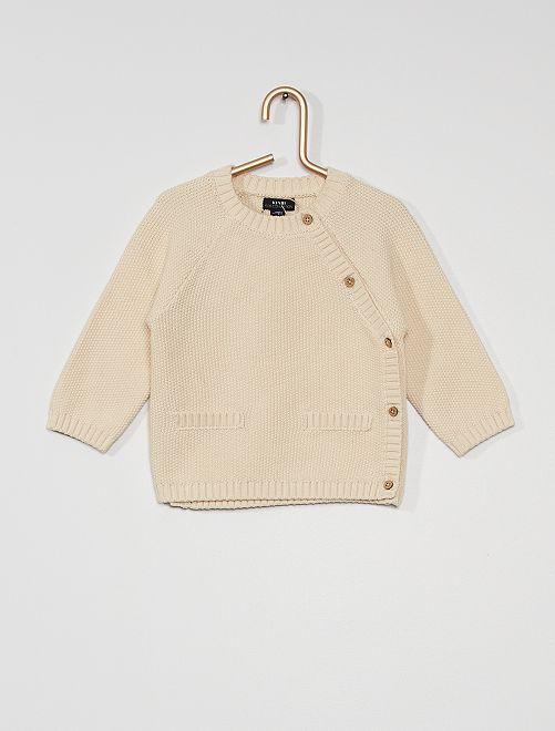 Vest van tricot in rijststeek 'Ecodesign'                             sneeuw wit