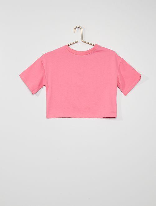 Wijd T-shirt van lichte molton                                         ROSE
