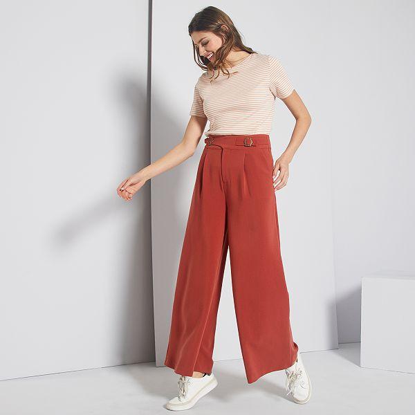Hedendaags Wijde broek met hoge taille Femme - ROOD - Kiabi - 20,00€ CP-52