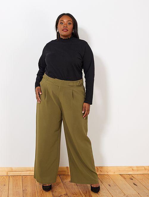 Wijde broek met riem                                         bruin