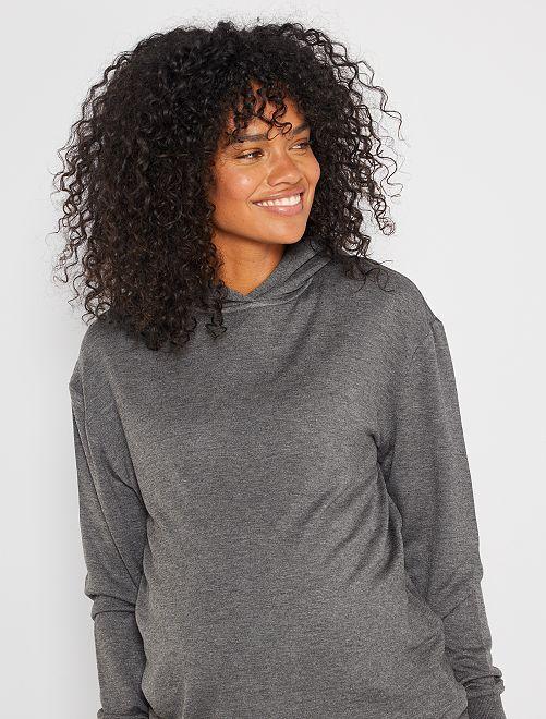Zwangerschapssweater met capuchon                             GRIJS